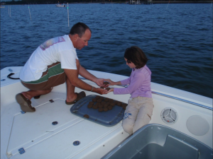 dad and daughter shrimping